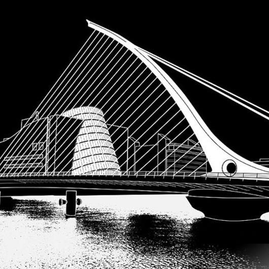 3D Line Drawings, Bridge, Dublin