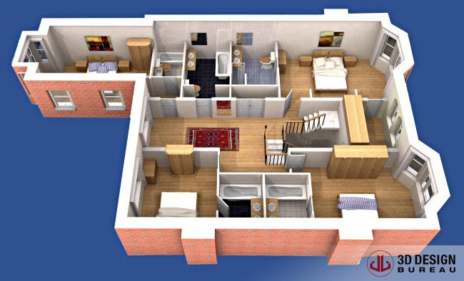 3d design bureau 3d plans portfolio. Black Bedroom Furniture Sets. Home Design Ideas