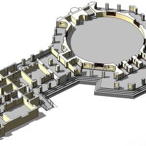 Scan to BIM, Cutaway BIM Model, Mosque, Abu Dhabi