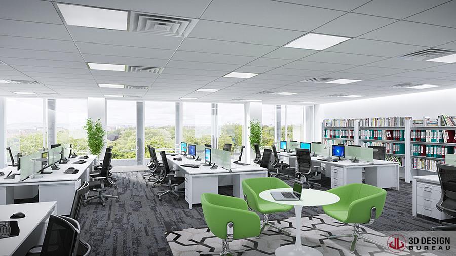 3d design bureau interior rendering commercial. Black Bedroom Furniture Sets. Home Design Ideas