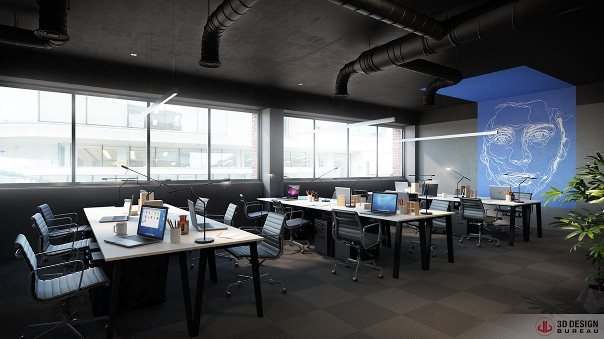 3d design bureau interior rendering portfolio for Bureau dessin