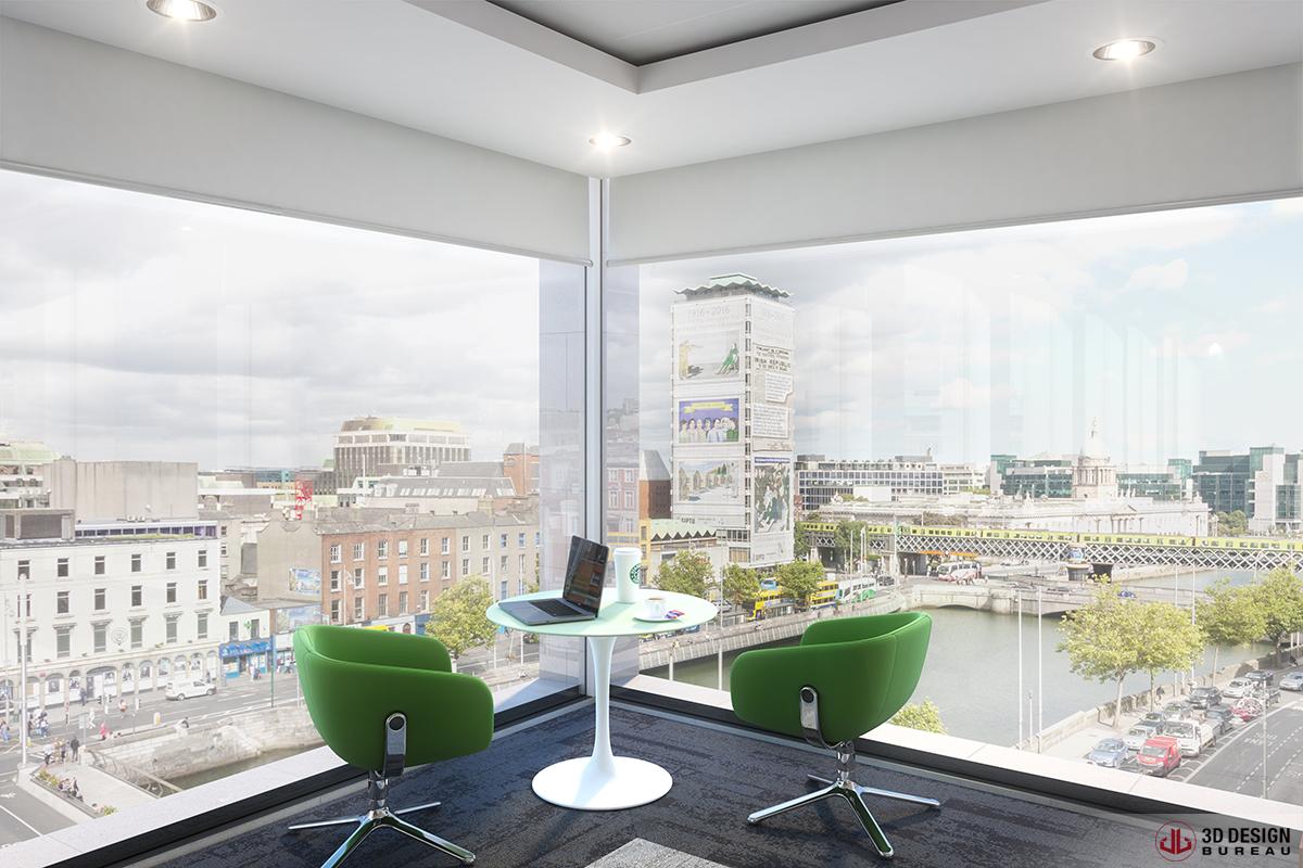 3d design bureau interior rendering commercial for Bureau dessin