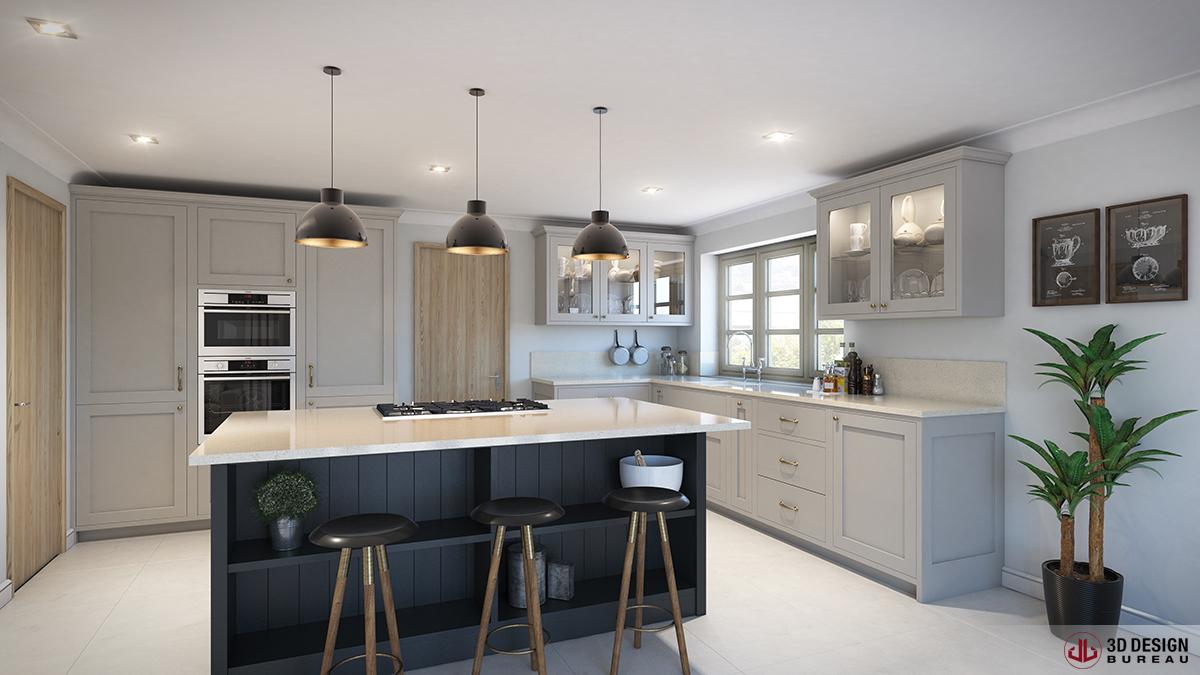 3d design bureau interior rendering residential for Bureau dessin