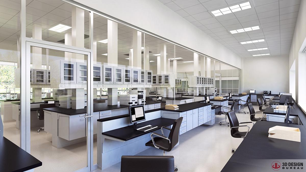 3d design bureau interior rendering commercial for Dental lab design layout