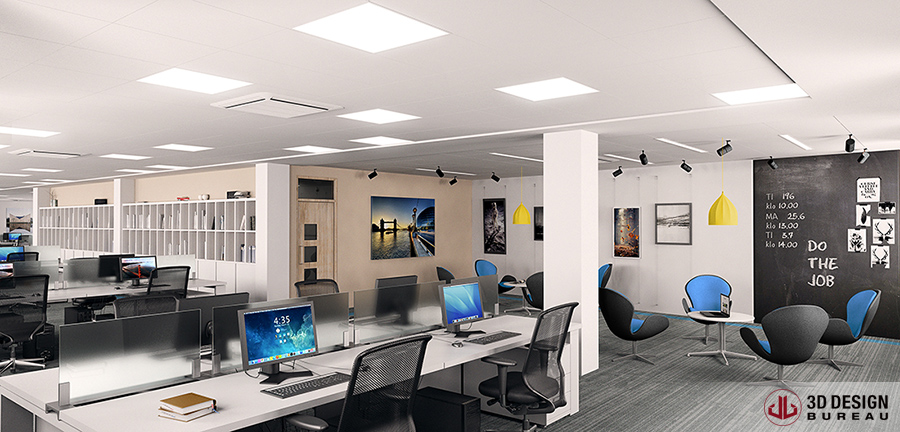 dublin office space. 3D Design Bureau, News, Interior Render Dublin Office Space